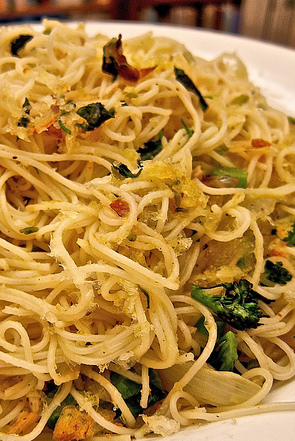 Spaghetti with grilled vegetables